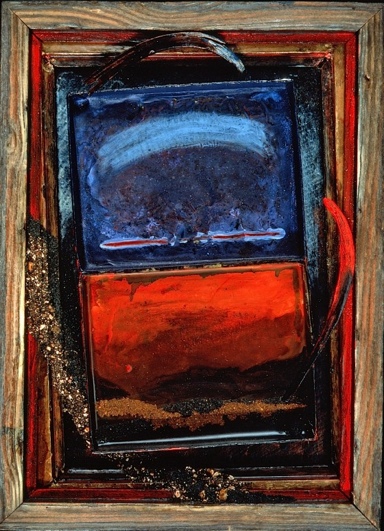 Minium 1989-90 Oils, acrylics, wood stains, plaster, sand, earth, wood, on card and wood 31 x 25.5 cm Private Collection, UK