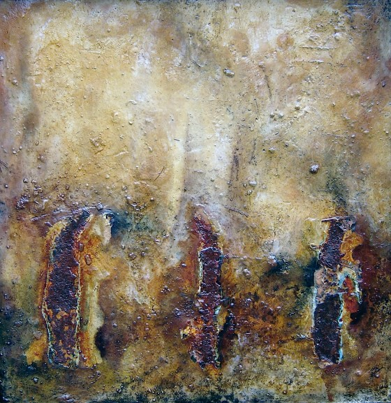 Moon-Slow 2007-08 Oils, acrylics, plaster, sand, rusted metal, chemicals, on wood 44 x 44 cm Private Collection, USA