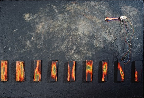 Multiple Exposures 1991 Oils, acrylics, enamel paints, plaster, wood, collage, electrical wires, on wood 51 x 61 cm Private Collection USA