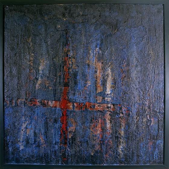 Mute Battery 2001 Oils, acrylics, plaster, bronze powders, pigments, on wood 127 x 127 cm