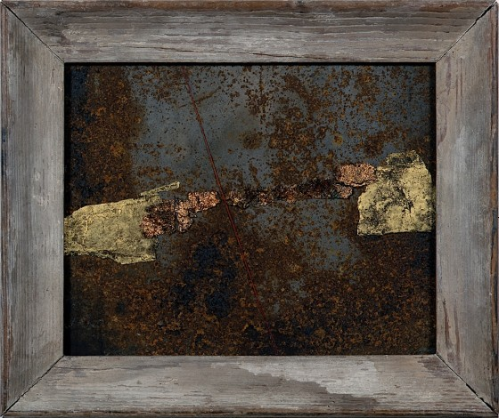 Near Far 2001 Oils, acrylics, plaster, thread, rusted metal, ferric oxide, on wood 30 x 35.5 cm Private collection Germany