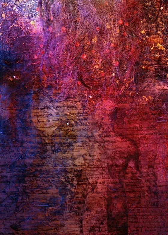 Night Spine 1995 Oils, acrylics, plaster, collage, luminous stars, hair, on board 54.5 x 38 cm
