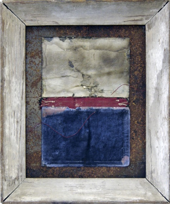 Not Forever Now 2009-10 Oils, acrylics, book covers, thread, on rusted metal. 35 x 29.5 cm Private collection UK