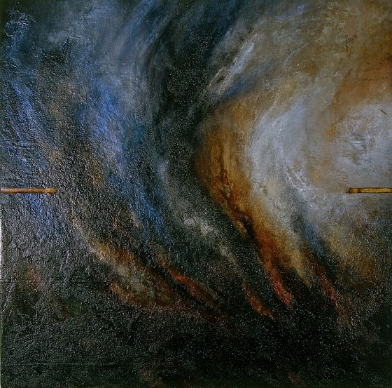 Openendlessness (Agri-culture) 2002 Oils, acrylics, plaster, earth, coal dust, aluminium paint, rusted tape measure, on wood 122 x 122 cm Private Collection UK