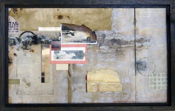 Out of Mind #1 2004-09 Oils, acrylics, photographs, printed papers, burning, etching varnish, aluminium paint, on papers, on board 29.4 x 52.3 cm Private collection Japan