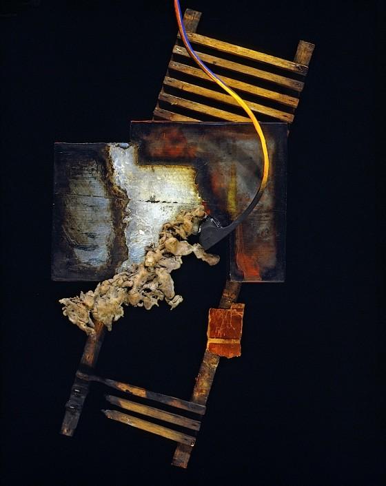 Passages 1989-90 Oils, acrylics, burning, book cover fragment, bronze, wood 52 x 24 x 15 cm