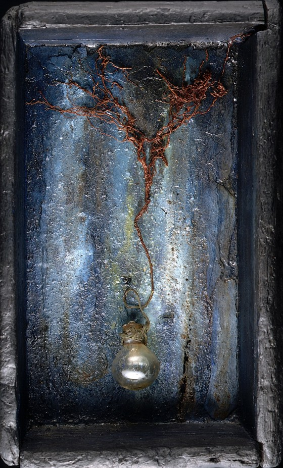 Perfume 1996 Oils, acrylics, earth, roots, copper wire, light bulb, in box 34 x 20 x 14 cm