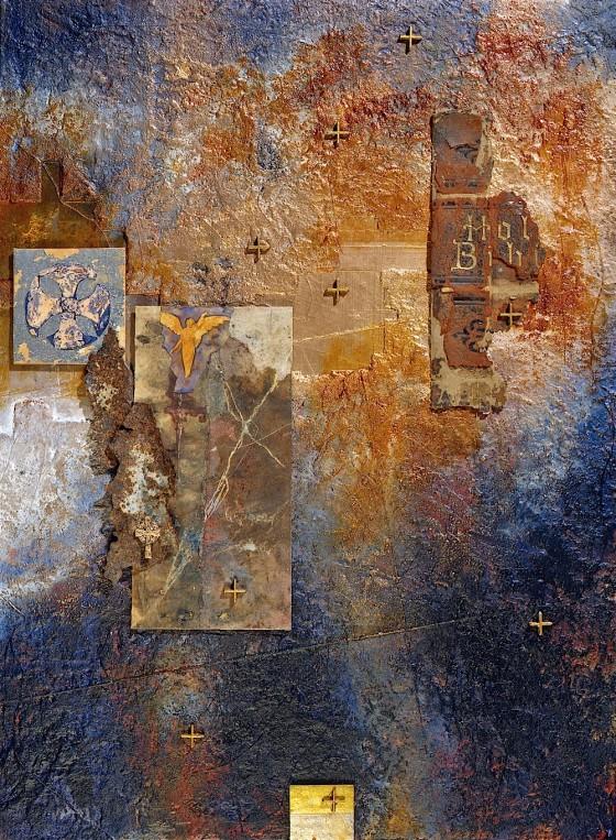Pilgrim Angel 1997 Oils, acrylics, plaster, earth, bronze powders, collage, on wood 62 x 47 cm Private collection USA