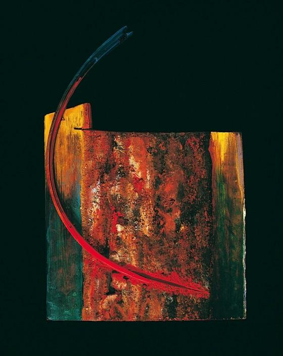 Pro-Tem (Still Rains and Reigns) 1989-90 Oils, acrylics, wood varnish, earth, wood 51.5 x 20 x 6 cm