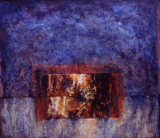 Pulled By The Poles 2003-04 Oils, acrylics, plaster, bronze powders, gold leaf, shellac, varnish, earth, sand, coal dust, on wood 150 x 170 cm Private collection Japan