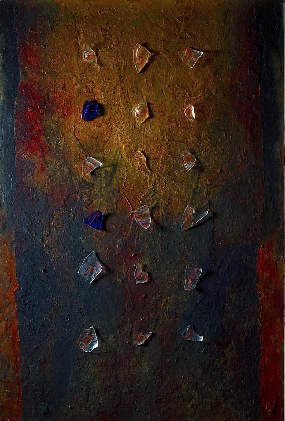 Quiet Edges 2013 Plaster, earth, oils, acrylics, glass, threads, on wood 74 x 46 cm