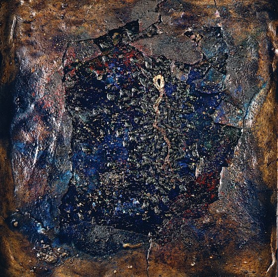 Receiver: Spangle-Seep 1997 Oils, acrylics, plaster, bronze powders, insects, mica, on wood 44 x 41 cm Private collection USA