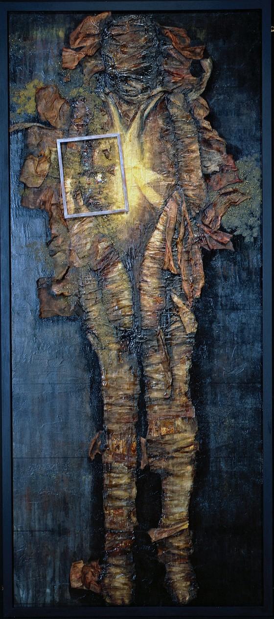 Reternal #1: Read As Text 1991 Acrylics, oils, wood stains, shoe polish, bitumen, earth, sand, plaster, wood, bandaging, computer parts, on wood 219 x 90.7 cm