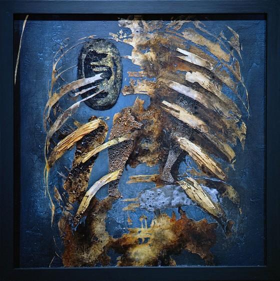 Reternal #3: The Shape Of Seconds 1991 Acrylics, oils, wood stains, shoe polish, earth, sand, earth, ash, gold leaf, on wood 63.5 x 63.5 cm