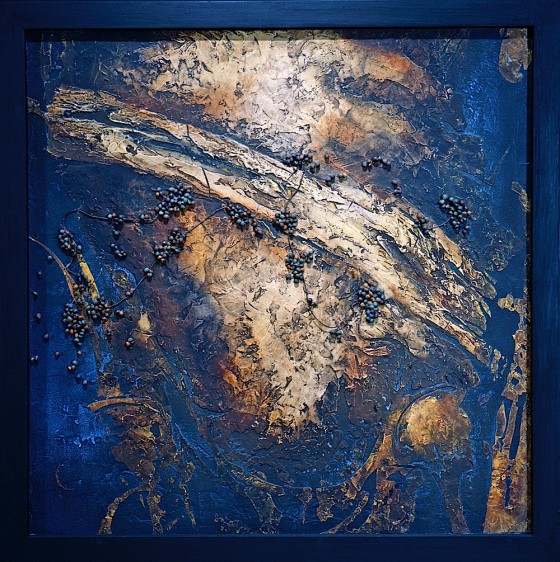 Reternal #4: Then Came History 1991 Acrylics, oils, wood stains, shoe polish, earth, sand, poppy seeds, copper wire, on wood 63.5 x 63.5 cm