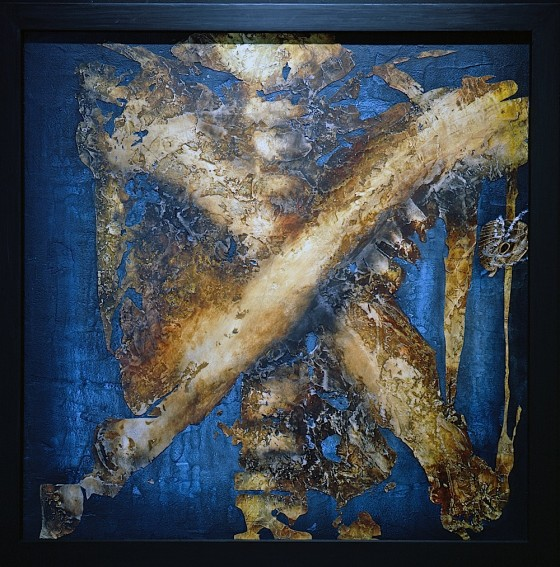 Reternal #5:Lacuna 1991 Acrylics, oils, wood stains, shoe polish, earth, sand, plaster, salt, moth's wings, on wood 63.5 x 63.5 cm
