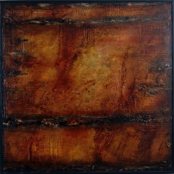 Ricochet 2001 Oils, acrylics, plaster, bronze powders, pigments, on wood 126 x 126 cm Private collection UK