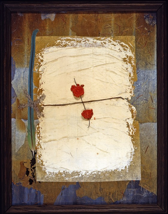 Seal 1990 Oils, acrylics, wax, threads, baked paper and plaster on board 42 x 31 cm