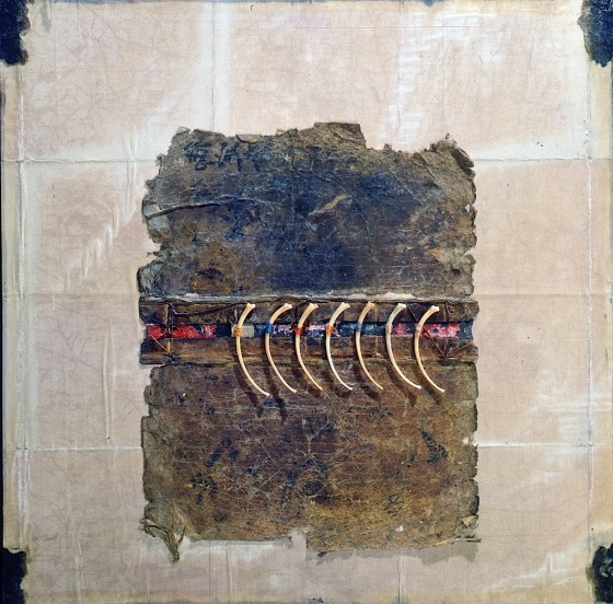 Seeding Mercury 1995 Oils, acrylics, masking tape, linen, book cover, bones, threads, on wood 41 x 41 cm The Guinness Collection, Dublin