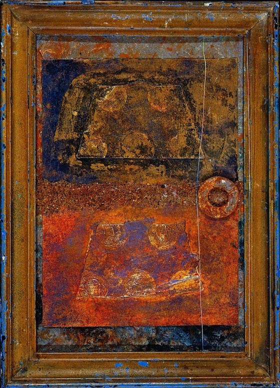 Seefeel 1992 Oils, acrylics, plaster, ash, rust dust, coal dust, metal, thread on wood 17 x 21.2 cm Private collection UK
