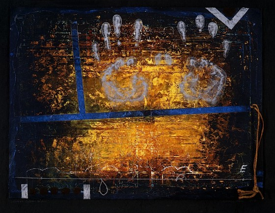 Silence Between Wishes 1988-89 Oils, acrylics, plaster, thread, on wood 41 x 48 cm