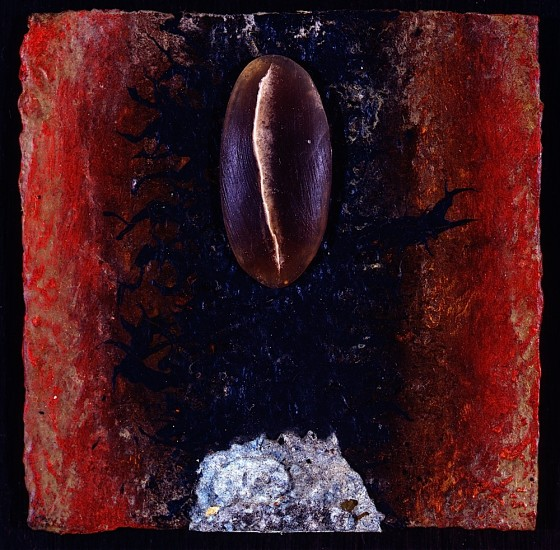 Sistrum 1993 Oils, acrylics, plaster. paper pulp, soap, on wood 14 x 14 cm Private collection UK