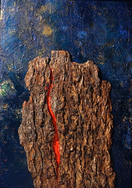 Slow Burn (Closing-up) 1997-98 Oils, acrylics, plaster, wax, bark, on wood 45.5 x 31.5 cm Private collection UK