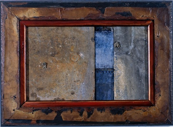 Slow Burn 2001 Oils, acrylics, card, steel, lead, zinc, spent lead bullets, on wood 38 x 51 cm Private collection Norway