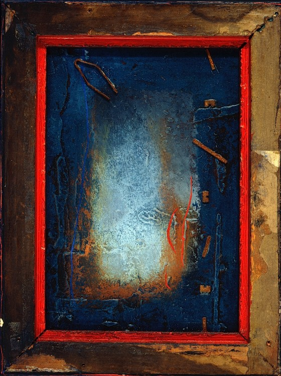 Sonus Catena 1988 Oils, acrylics, plaster, wood varnish, rusted metal, on wood 25.5 x 30.5 cm Private collection UK