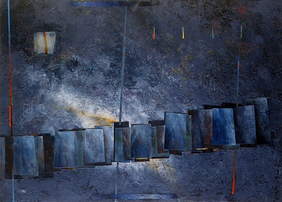 Sound Shadow 1986 Oils, acrylics, plaster, wood, on wood 61 x 46 cm Private collection UK
