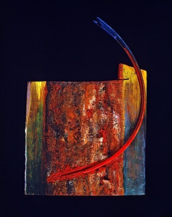 Spine 1990 Oils, acrylics, earth, wood varnish, wood 26 x 17 x 5.7 cm