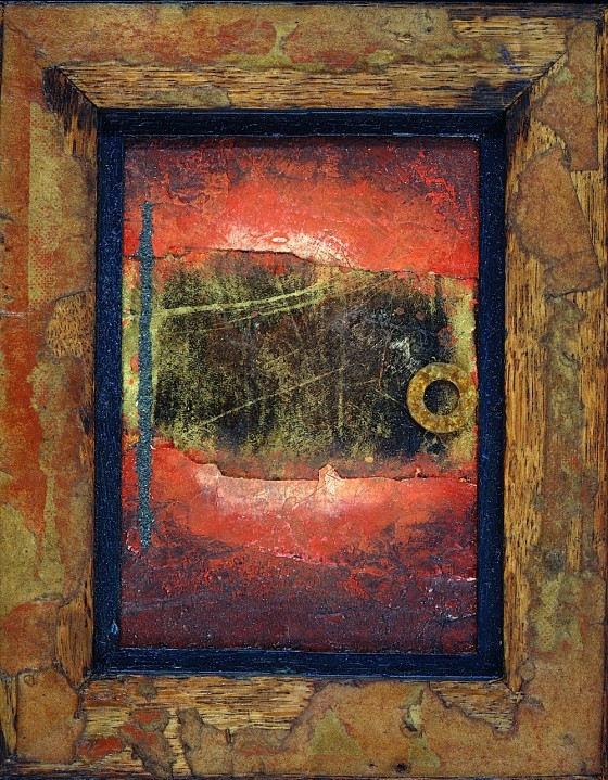 Stirrings 1998 Oils, acrylics, plaster, gold leaf, volcano dust, metal, on wood 17 x 21.2 cm Private collection UK