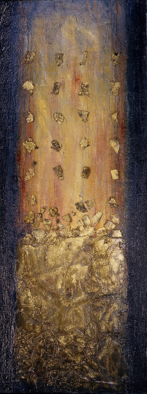Stones of LIght 1998 Oils, acrylics, plaster, earth, etching varnish, wood stains, mica, salt, threads, on wood 172.5 x 67 cm Private collection Japan