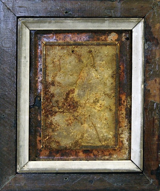Storing Light 2010 Oils, acrylics, bronze powder, earth, on card, on rusted metal 31.5 x 26.5 cm
