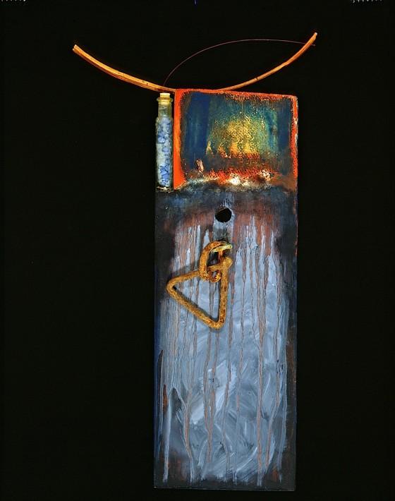 Strange Bearer (for Blind Willie Johnson) 1990 Oils, acrylics, plaster, rusted metal, vial of blue stone chips, fibre optic cable, wood 57 x 30 x 11 cm