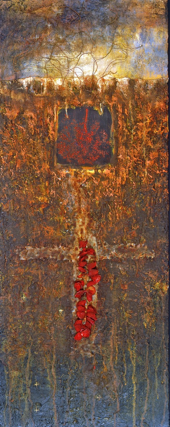 Sub Rosa 1991-92 Oils, acrylics, plaster, wax, resin, copper wire, rose petals, on wood 113 x 48.5 cm Private collection Japan