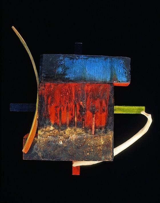 Swoop: Antenna 1988 Oils, acrylics, wood varnish, matches, burning, bone, wood 31 x 28 x 10 cm