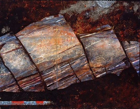 Talus 1989 Oils, acrylics, plaster, earth, ash, nail varnishes, on wood 69.5 x 90.2 cm Private collection UK