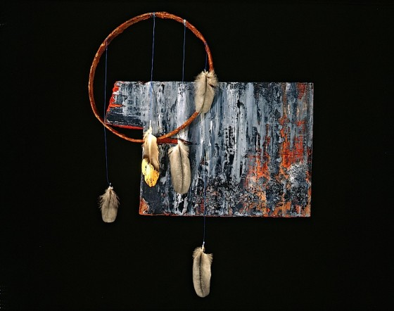 Teardrop Veil 1990 Oils, acrylics, plaster, threads, feathers, gold leaf, rusted metal, wood 42 x 30 x 7.5 cm