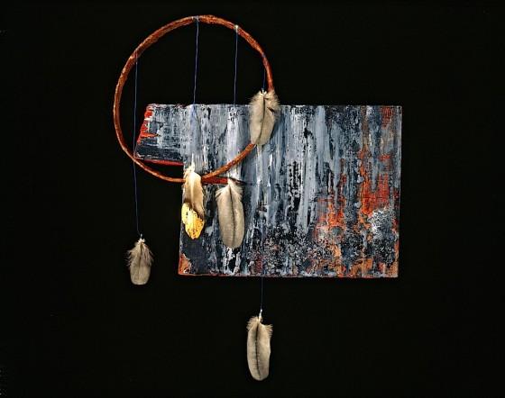 Teardrop Veil 1990 Oils, acrylics, plaster, threads, feathers, gold leaf, rusted metal, wood 42 x 30 x 7.5 cm