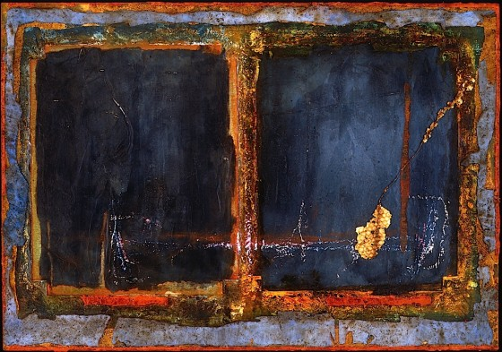 The Angle of Telling 1992 Oils, acrylics, plaster, honeycomb, chalk, crayon, on wood 44.5 x 56 cm Private collection France
