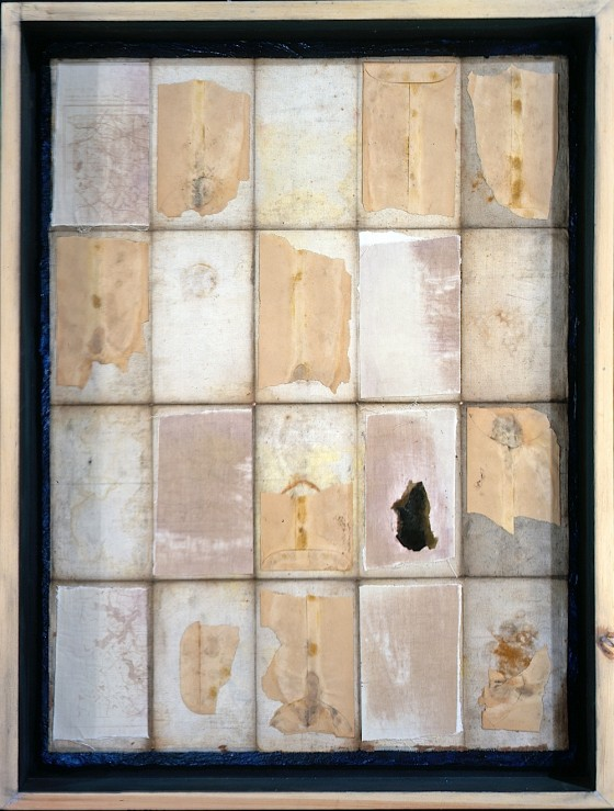 The Archaeology of The Invisible 1998 Oils, acrylics, plaster, paper, mica, ferric oxide, on linen, on wood 85.5 x 65 cm Private collection UK
