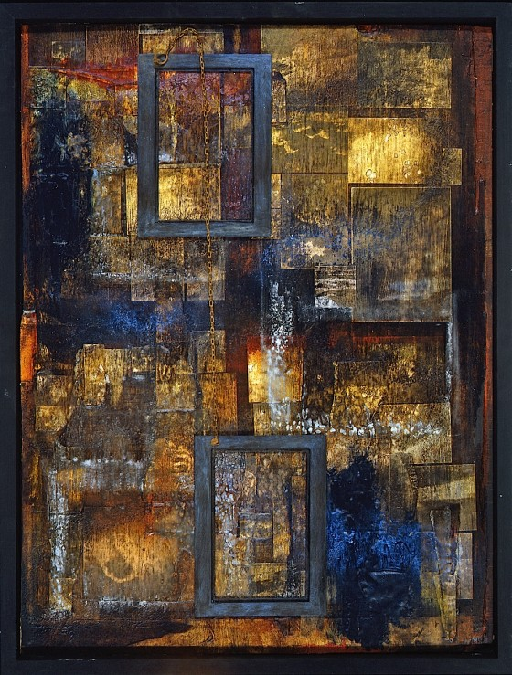 The Exacting Silence of Reading #2 1992 Oils, acrylics, wood stains, photocopies, wood, chain, salt, on wood 46 x 60.5 cm Private Collection, Denmark
