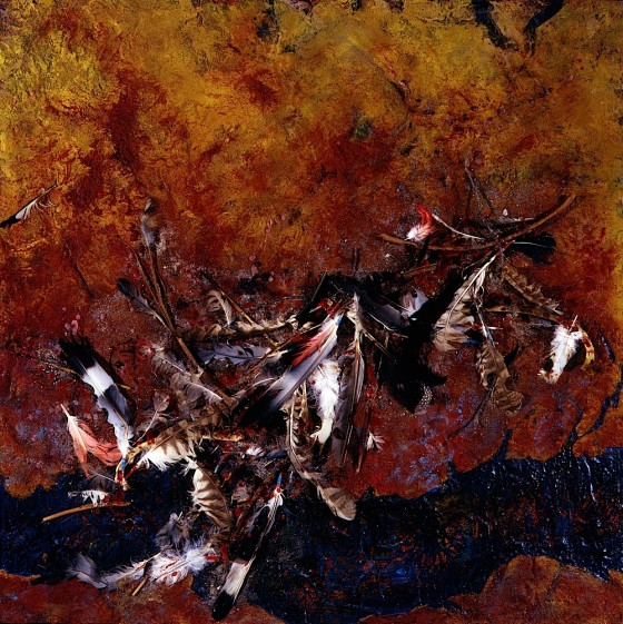 The Semaphore of Wings 1994 Oils, acrylics, plaster, earth, wax, blood, insects, wire, feathers, on wood 61 x 61 cm Private collection USA