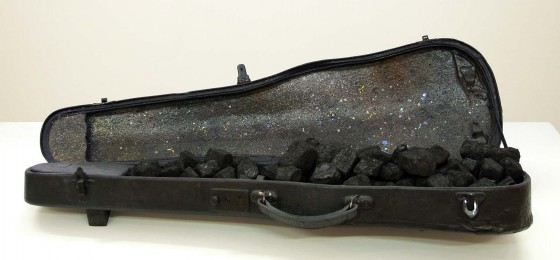 The Speech of Flint and Air (Thought Engine) 2004 Oils, acrylics, ash, coal dust, coal, glitter, three metal bee emblems in violin case 91.5 x 51 x 20.5 cm