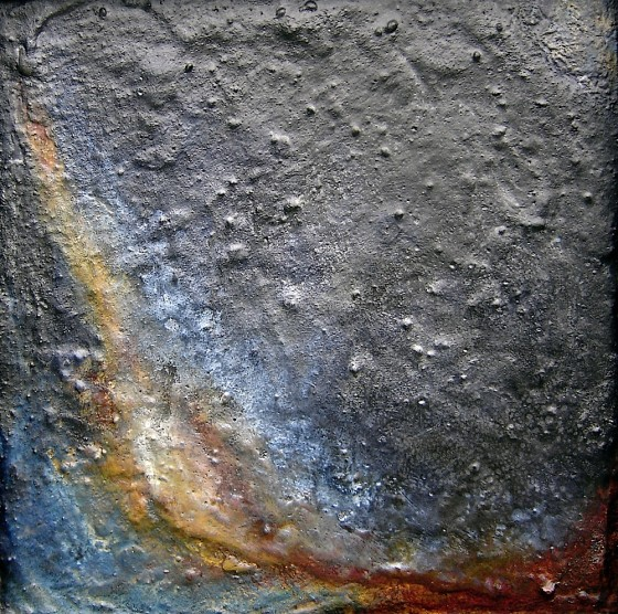 The Unknown Is Shown Only By A Bend In the Known 2007 Oils, acrylics, plaster, wax, on wood 44 x 44 cm