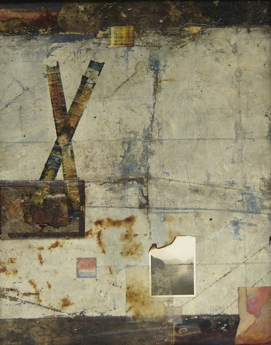 Through Those Eyes 2005 Oils, acrylics, watercolour, bronze powder, treated papers, Sellotape, canvas from Cylinders Farm, Elterwater (site of Kurt Schwitters' third and last Merzbau sculptural installation), rusted metal, baked Polaroid, card, Xerox colour photocopy, photograph, burning, on card 59 x 49 cm