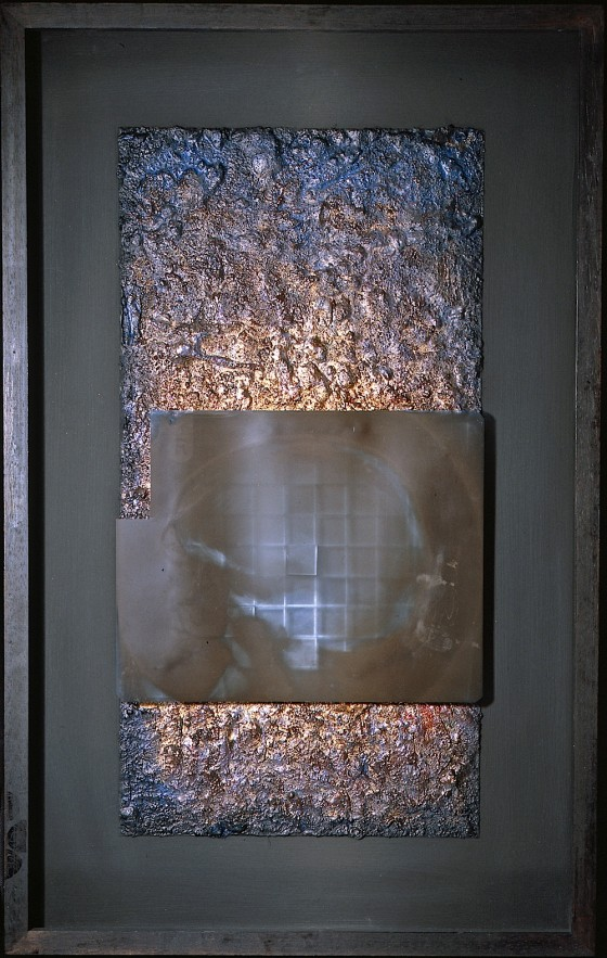 Undark #1 1996 Oils, acrylics, plaster, earth, silver foil, X-Ray, on wood 76 x 45 cm
