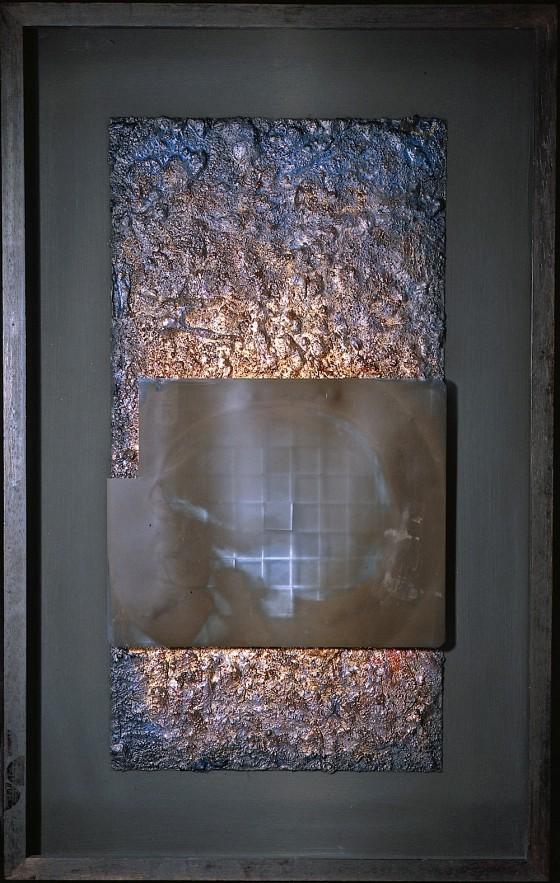 Undark #1 1996 Oils, acrylics, plaster, earth, silver foil, X-Ray, on wood 76 x 45 cm