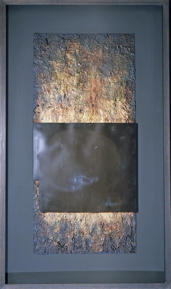 Undark #3 1996 Oils, acrylics, plaster, earth, silver foil, X-Ray, on wood 76 x 45 cm